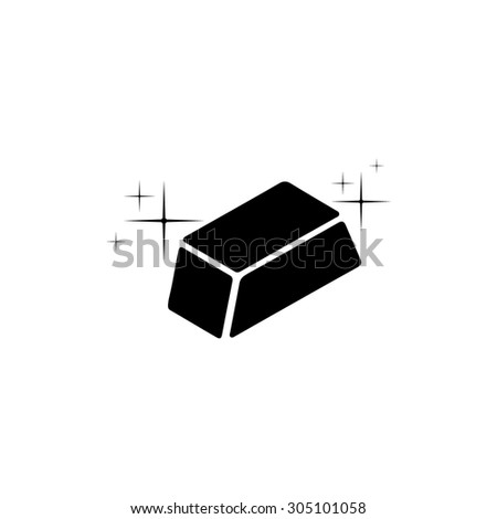 Gold bullion. Black simple vector icon - stock vector