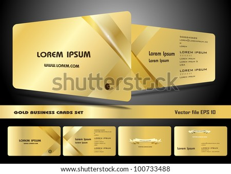 Gold business cards set - stock vector