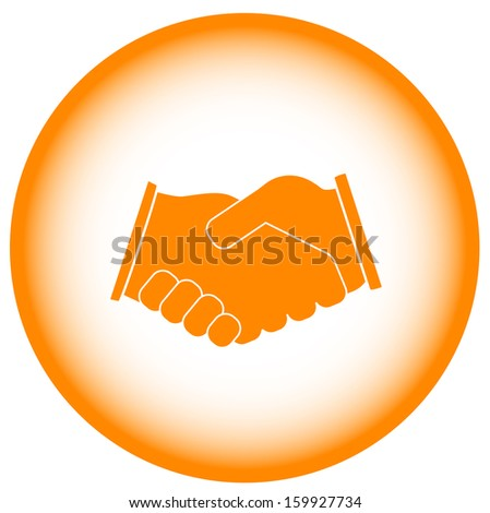 gold business handshake - banking symbol. Yellow icon of a set of banking.  - stock vector