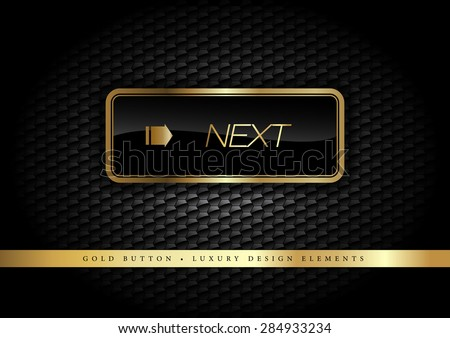 Gold button on the luxury black background. More golden buttons in this style on my portfolio.