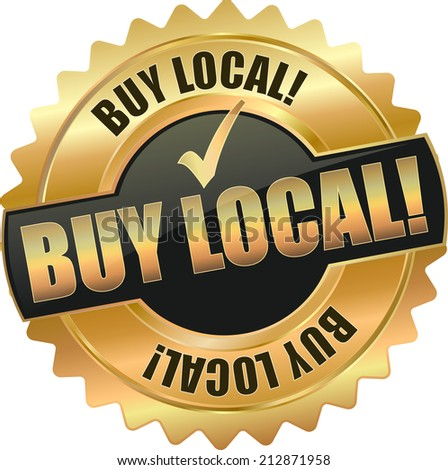 gold buy local sign - stock vector