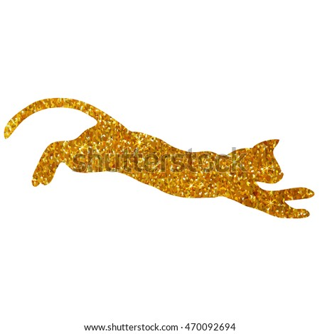 gold cat with glitter, silhouette isolated vector illustration