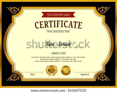 Gold certificate template vector illustration stock vector 263607020 gold certificate template ctor illustration yadclub Image collections