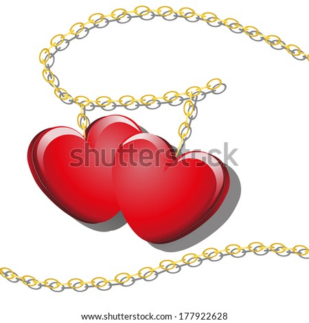 Gold chains with red hearts - stock vector