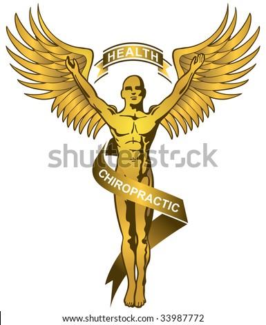 gold chiropractor symbol - stock vector