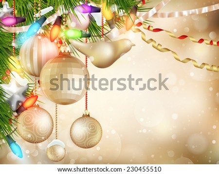 Gold Christmas background of de-focused lights with decorated tree. EPS 10 vector file included - stock vector