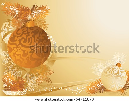 Gold christmas background with baubles and pine cones.