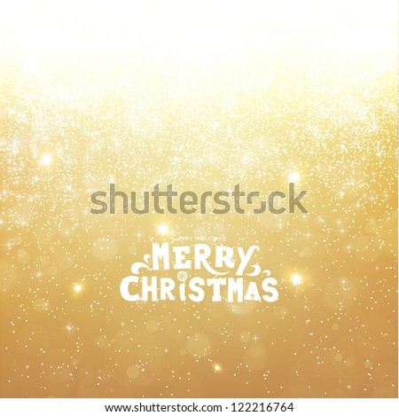 Gold Christmas background with snowflakes for Xmas design. Vector eps 10. - stock vector