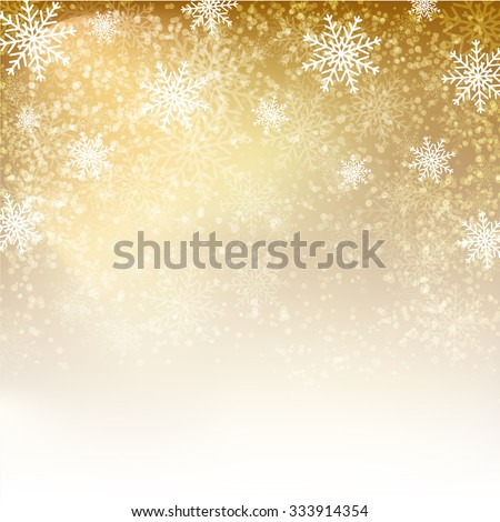 Gold Christmas background with  snowflakes. Vector illustration for Christmas posters, icons, Christmas greeting cards, Christmas print and web projects.