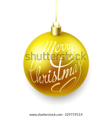Gold Christmas balls isolated on white background with lettering - stock vector