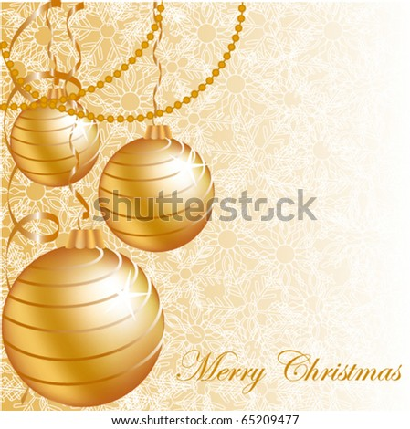 Gold Christmas balls on pattern background with snowflake