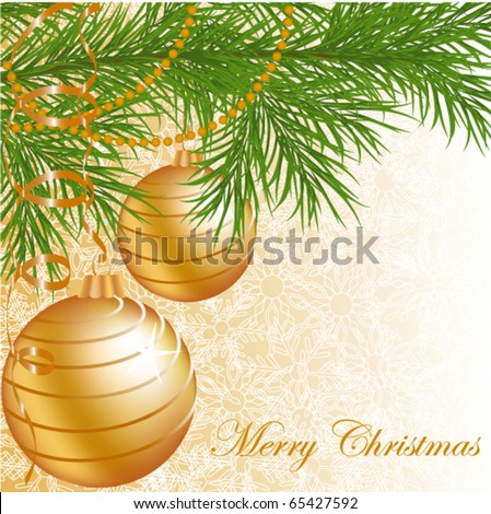 Gold Christmas balls on pattern background with snowflake - stock vector
