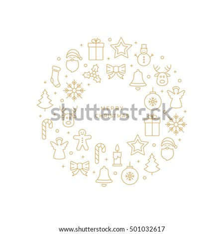 gold christmas line icons circle white background