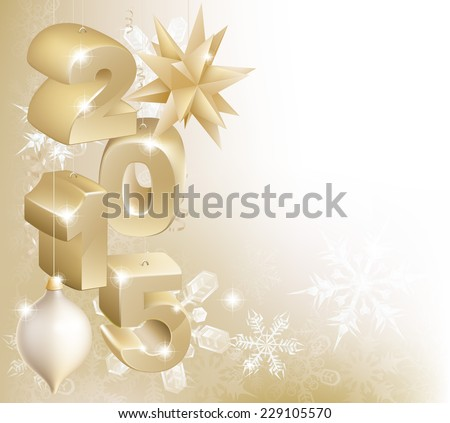Gold 2015 Christmas or New Year decorations background with snowflakes and baubles reading 2015 - stock vector