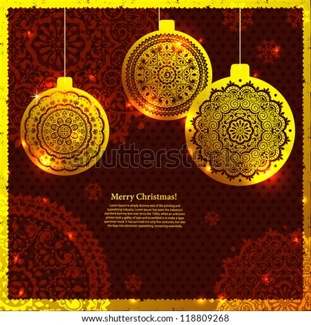 Gold Christmas ornamental balls. Can be used as invitation or greeting card