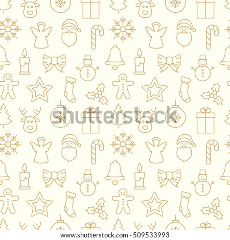gold christmas seamless pattern icons background