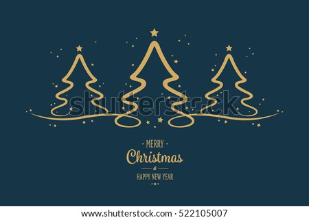 gold christmas trees stars greeting blue background