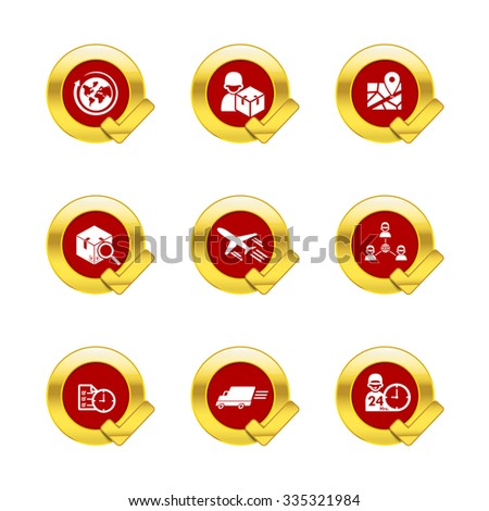 Gold circle and check mark with logistic and transport icons isolated on white background vector illustration