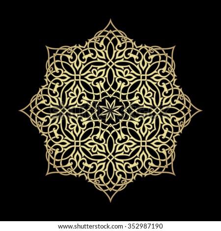 Gold circle luxury ornament ob black background. Traditional eastern motif. Floral filigree element for design. Vector illustration - stock vector