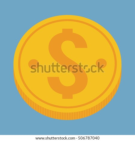 Gold coin icon. Money financial item commerce market and payment theme. Colorful design. Vector illustration