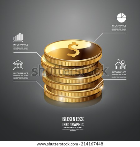 Gold Coin Infographic Business Template. Concept Vector Illustration. - stock vector
