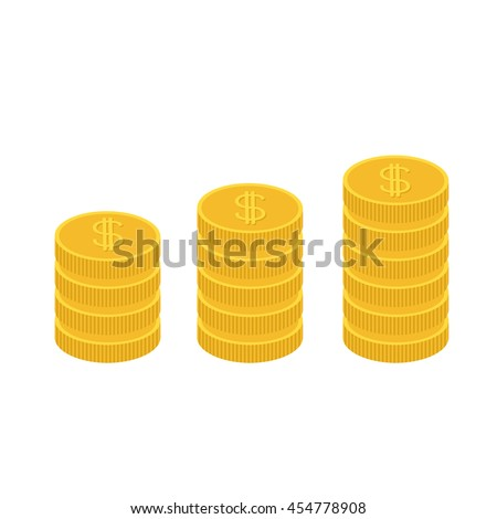 Gold coin stacks icon in shape of diagram. Dollar sign symbol. Cash money. Going up graph. Income and profits. Growing business concept. Flat design. White background. Isolated. Vector illustration - stock vector