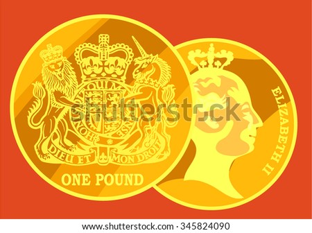 Gold coin, the pound sterling. Vector