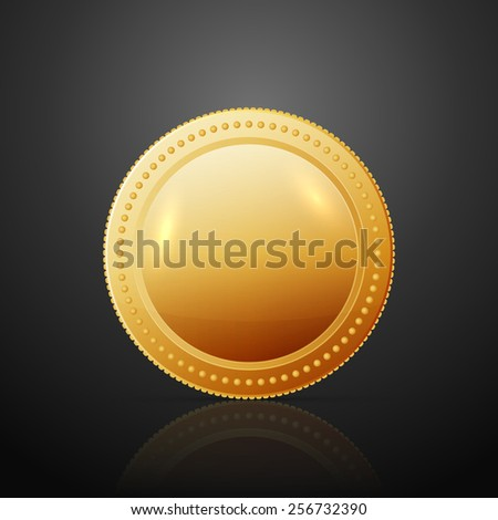 Gold coin. Vector illustration isolated on dark background - stock vector