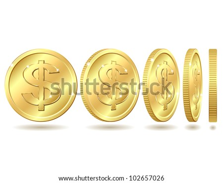Gold coin with dollar sign with different angles.. Vector illustration isolated on white background