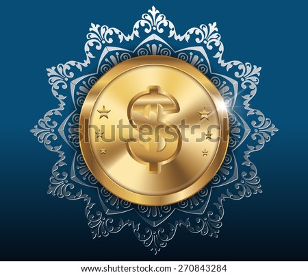 Gold coin with dollar sign with pattern background - vector eps10 - stock vector
