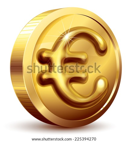 Gold coin with euro sign. Eps10. CMYK. Organized by layers. Global colors. Gradients used. Used transparency and blend modes different from normal. - stock vector
