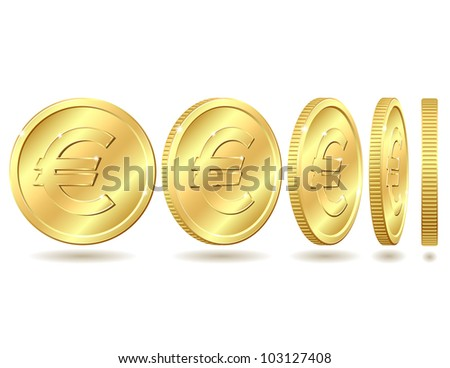 Gold coin with euro sign with different angles. Vector illustration isolated on white background - stock vector