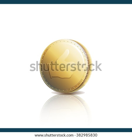 Gold coin with Like symbol. Thumb up on gold coin. Vector illustration 10 EPS