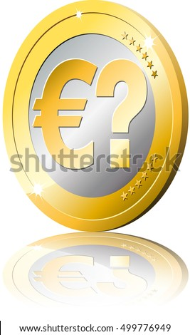 Gold Coin Euro Currency Symbol Question Stock Vector 499776949