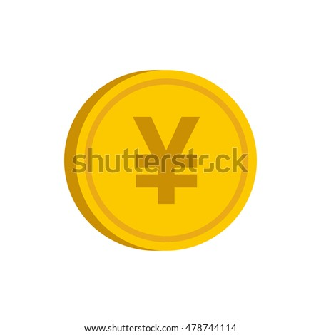 Gold coin with yen sign icon in flat style on a white background vector illustration