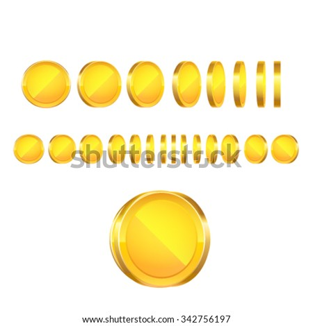 Gold coins animation. Vector