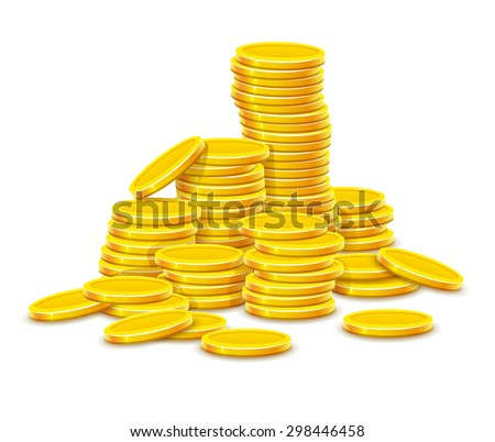 Gold coins cash money in rouleau. Eps10 vector illustration. Isolated on white background - stock vector