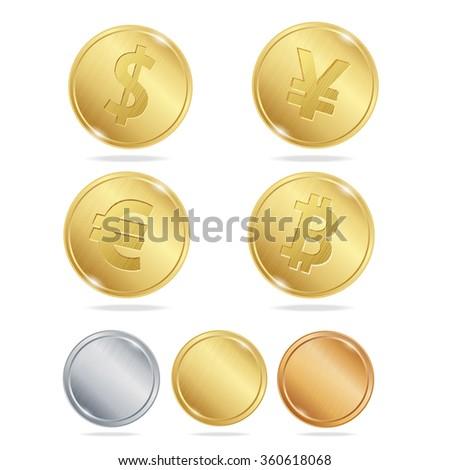 Gold Coins Dollar Euro Bitcoin Yuan Set. Vector illustration - stock vector