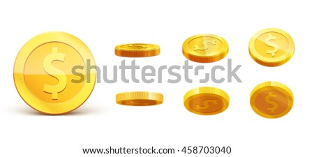 gold coins set isolated on white in different positions - stock vector