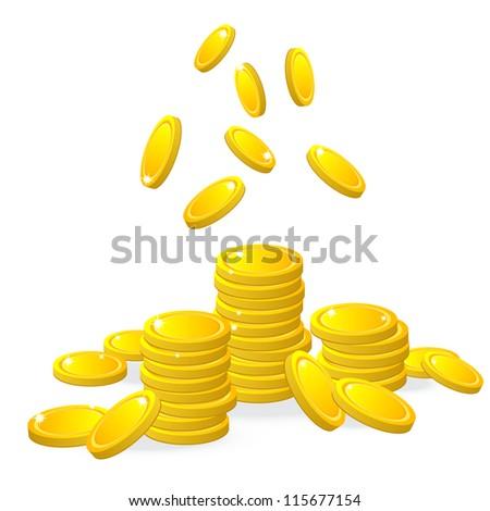 Gold coins, vector - stock vector