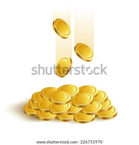 Gold Coins Vector Game Eps jackpot banking - stock vector