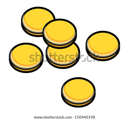 Gold Coins - Vector Illustration