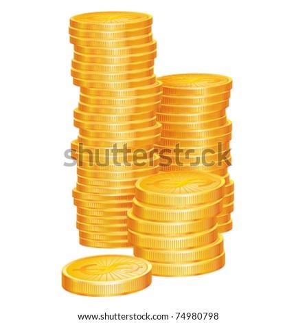 Gold coins vector illustration - stock vector