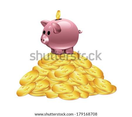 Gold Coins Vector Piggy Moneybox - stock vector