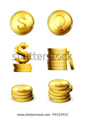 Gold Coins, vector set - stock vector