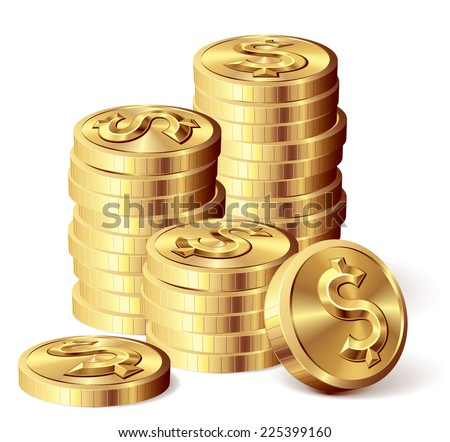 Gold coins with dollar sign. Eps8. CMYK. Organized by layers. Global colors. Gradients used. - stock vector