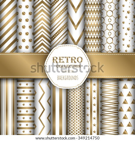 Gold collection of seamless patterns for wallpapers, pattern fills, web backgrounds, birthday and wedding cards. White and gold colors. - stock vector