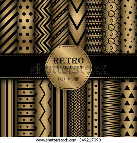 Gold collection of seamless patterns for wallpapers, pattern fills, web backgrounds, birthday and wedding cards. Black and gold colors. - stock vector
