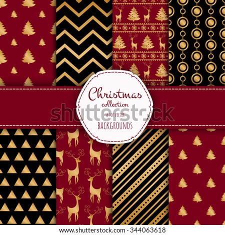 Gold collection of seamless patterns with black and white colors.  Set of seamless backgrounds with traditional symbols - snowflakes, pine tree,deer and suitable abstract patterns.  - stock vector