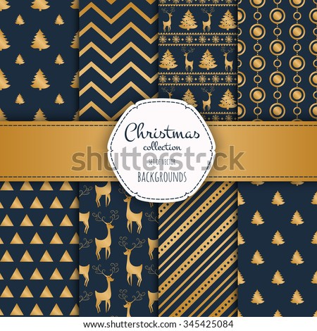Gold collection of seamless patterns with blue colors.  Set of seamless backgrounds with traditional symbols - snowflakes, pine tree,deer and suitable abstract patterns.  - stock vector
